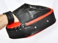 Phoenix ovāla ādas ķepa melna/sarkana