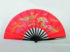 Phoenix Tai Chi Bamboo vēdeklis ar dragona bildi sarkans