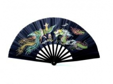 Phoenix Tai Chi Bamboo vēdeklis ar dragona bildi melns