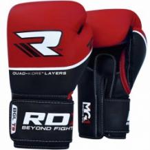 RDX QUAD-KORE Leather Training BGL-T9 boksa cimdi sarkani