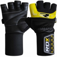 RDX Gym Glove 3.5 Strap ādas fitnesa cimdi melni/dzelteni