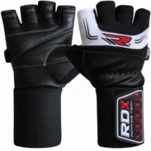 RDX Gym Glove 3.5 Strap ādas fitnesa cimdi melni/balti