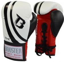 Booster sacensību boksa cimdi balti ar šņorēm 10oz